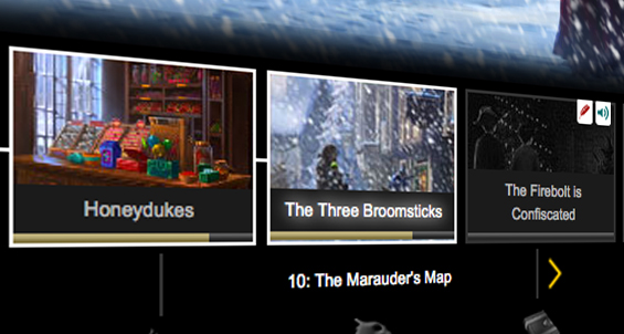The Discovery Bar is the strip of gold at the bottom of the Moments' thumbnails. Image courtesy of Pottermore.