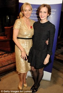 J.K. Rowling with Emma Watson at the event.