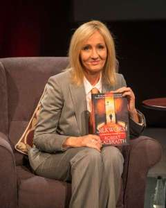 JKR promoting her Robert Galbraith novel, 'The Silkworm' last summer.