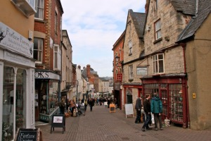 Like Pagford, Stroud, above, has cobbled streets and a variety of shops.