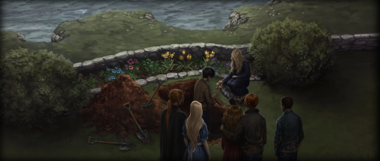 Moment depicting Dobby's funeral at Shell Cottage