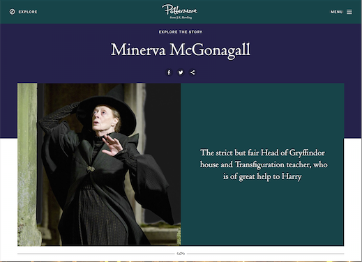 The new site will incorporate all developments of Harry Potter since its first publication, including the films, as shown above.